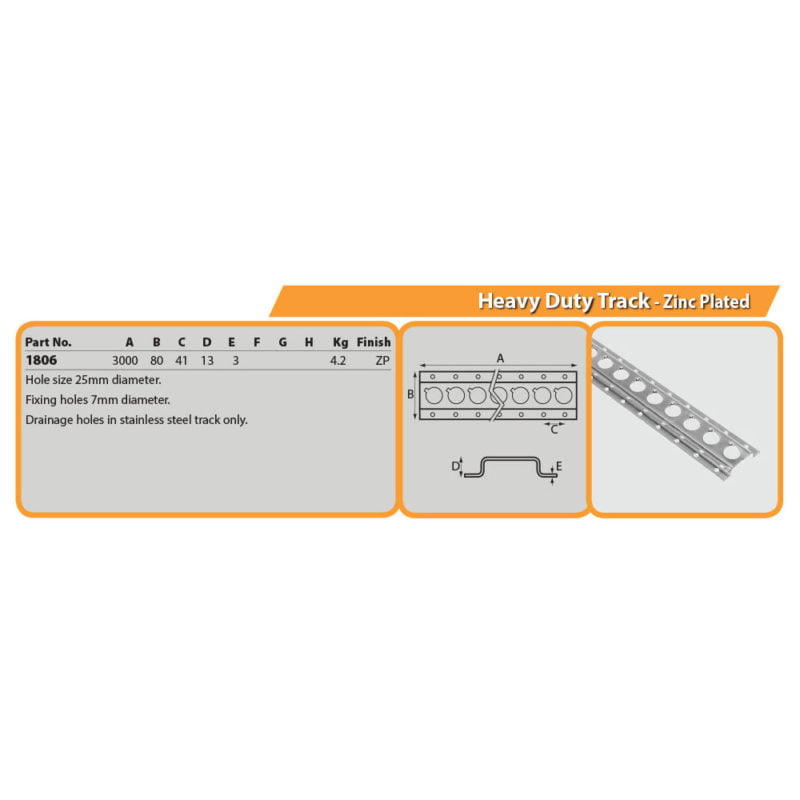 Heavy Duty Track - Zinc Plated Drg