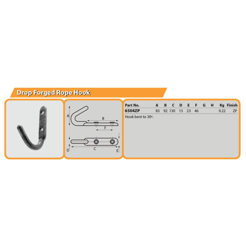 Drop Forged Rope Hook Drg