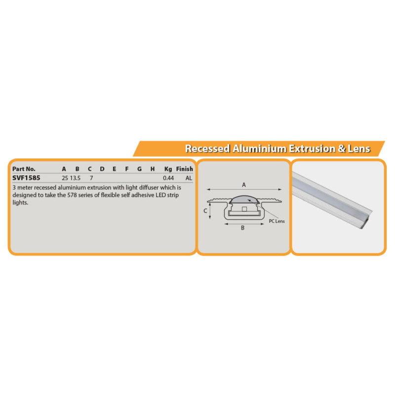 Recessed Aluminium Extrusion & Lens Drg
