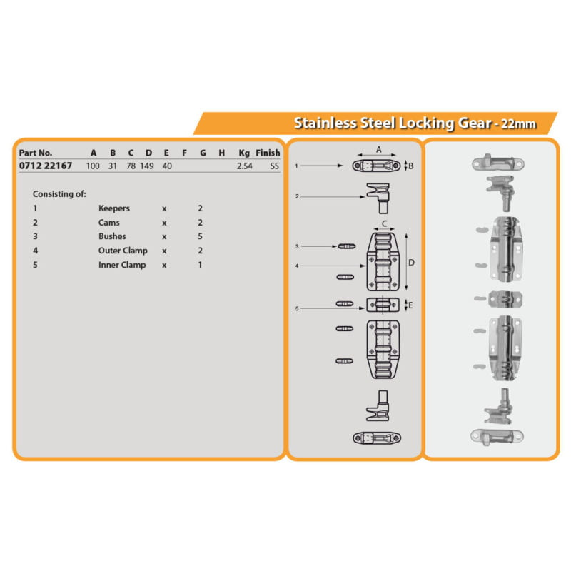 Stainless Steel Locking Gear - 22mm Drg