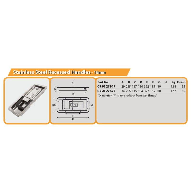 Stainless Steel Recessed Handles - 16mm Drg