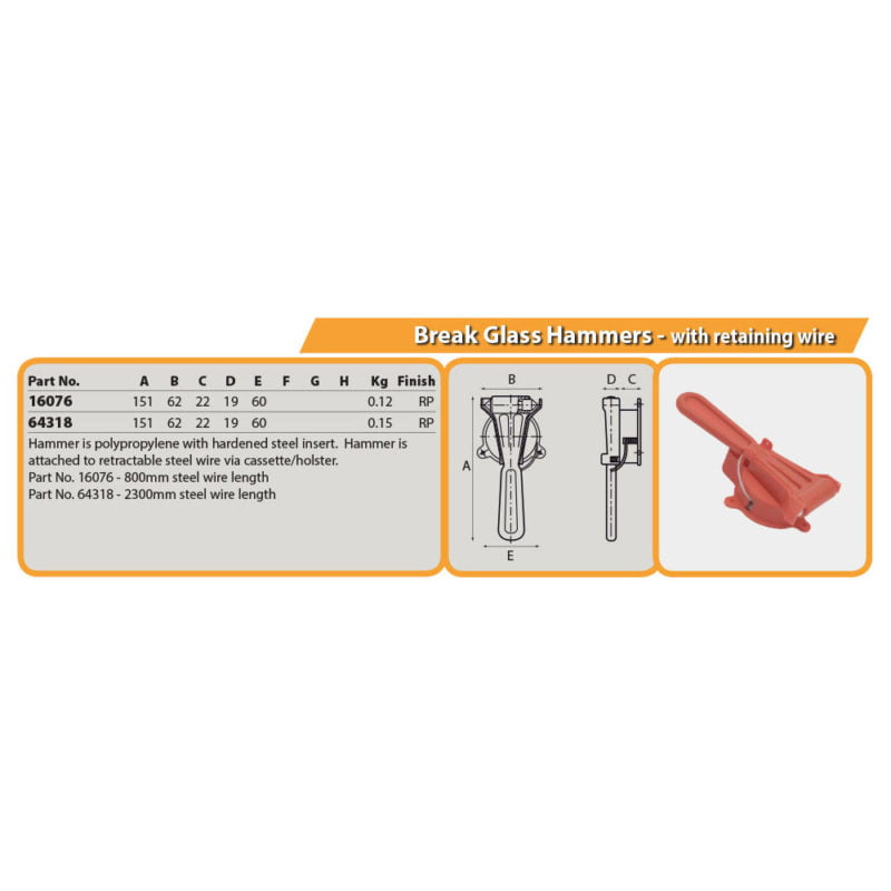 Break Glass Hammers - with retaining wire Drg