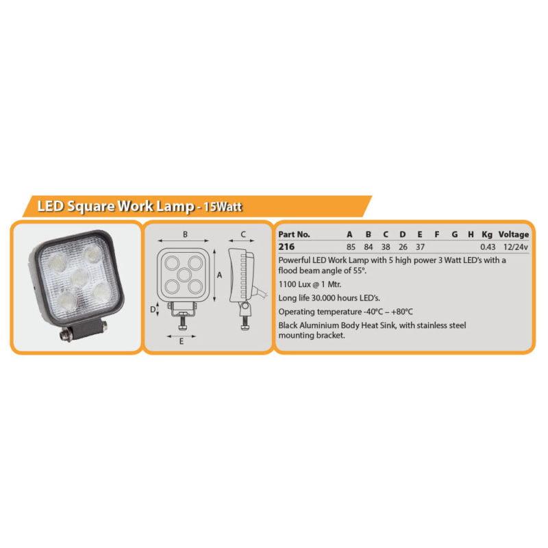 LED Square Work Lamp - 15Watt Drg