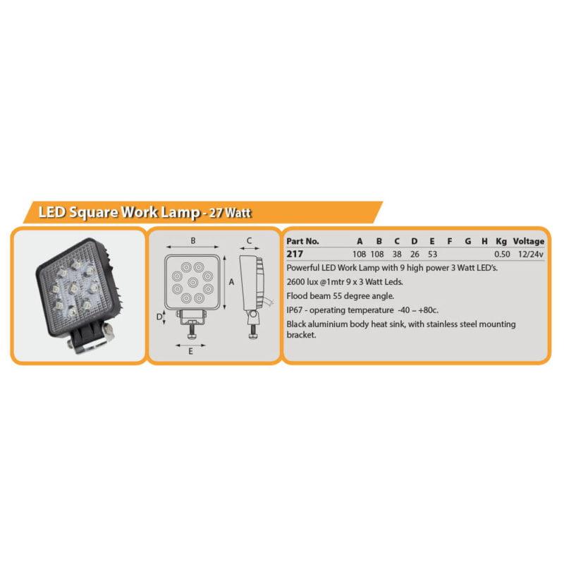 LED Square Work Lamp - 27 Watt Drg