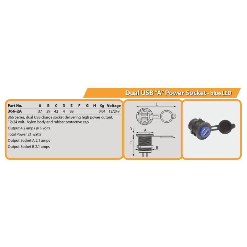 "Dual USB ""A"" Power Socket - blue LED Drg"