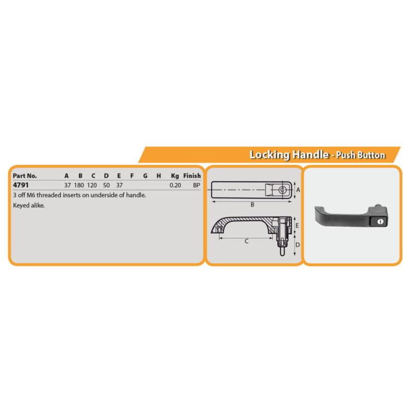 Locking Handle - Push Button Drg