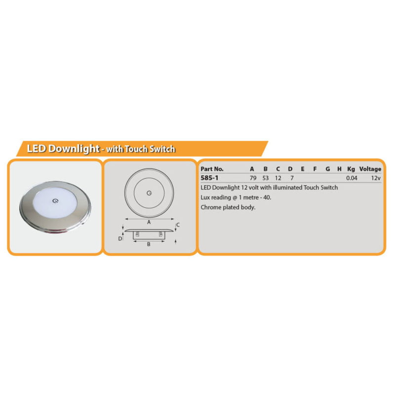 LED Downlight - with Touch Switch Drg