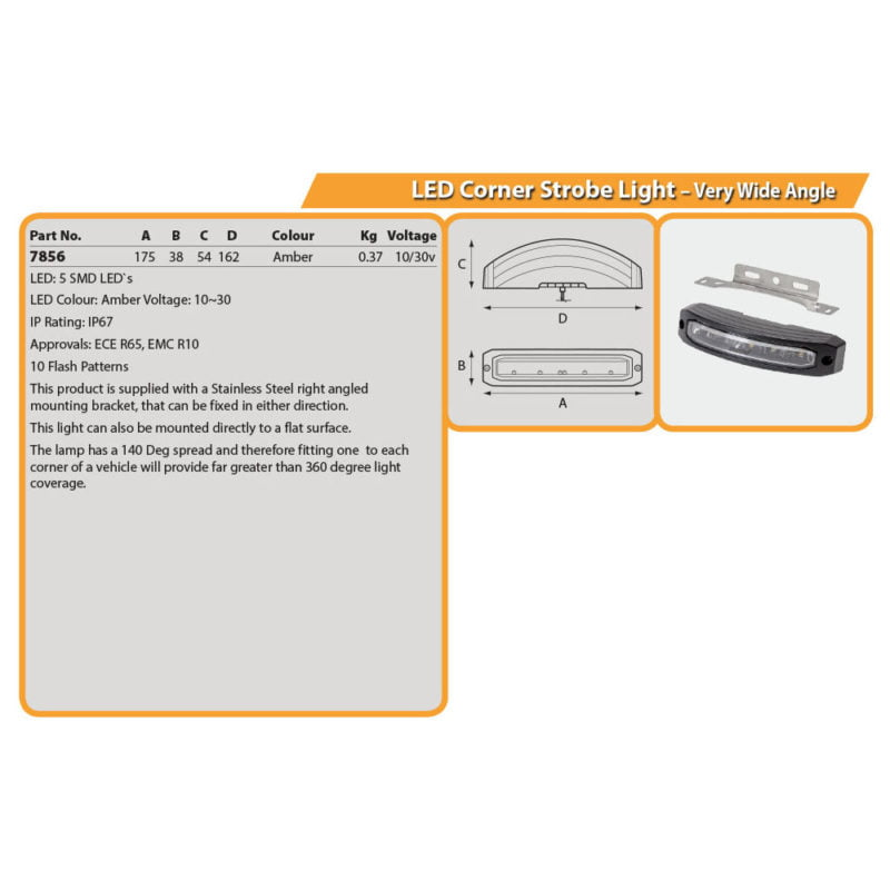 LED Corner Strobe Light – Very Wide Angle Drg