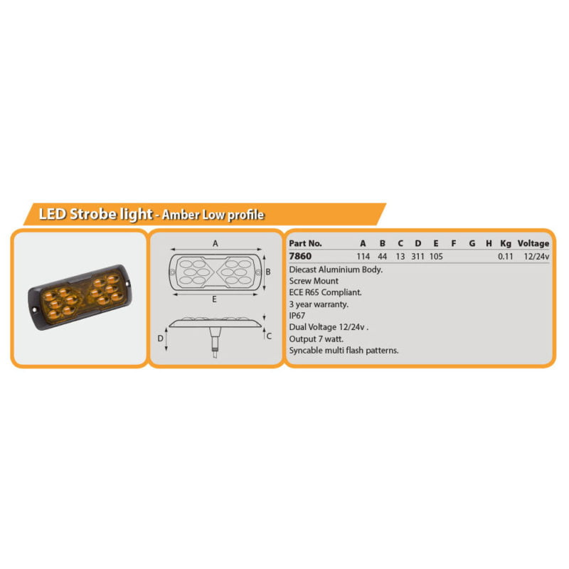 LED Strobe light - Amber Low profile Drg