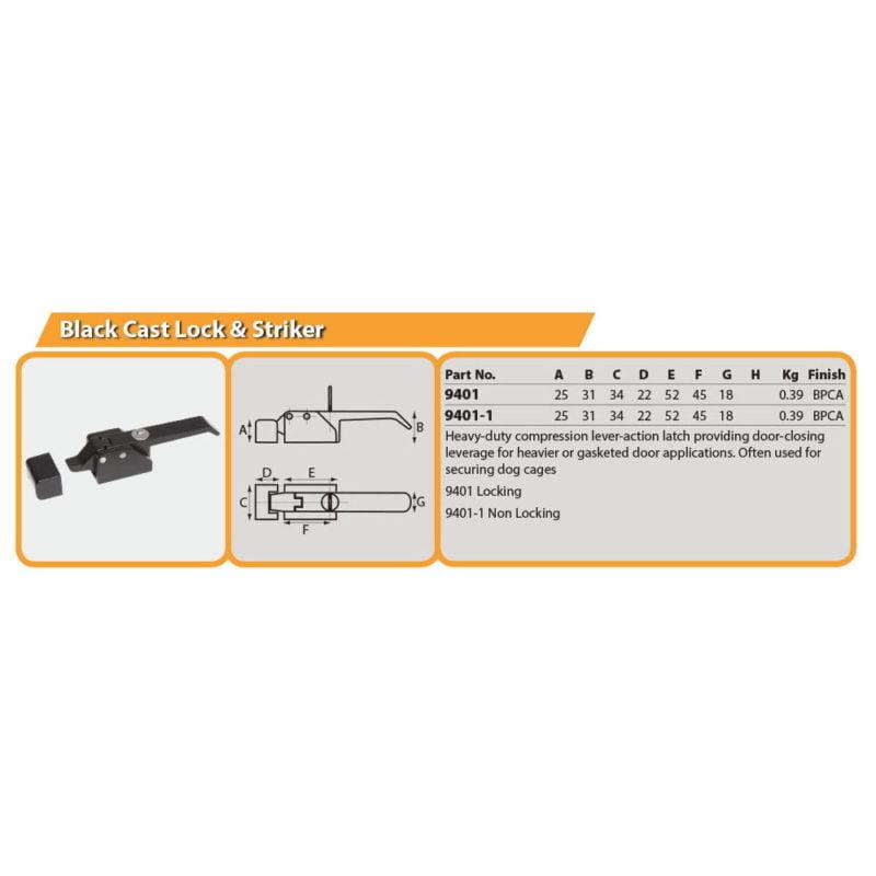 Locking Black Cast Lock & Striker Drg