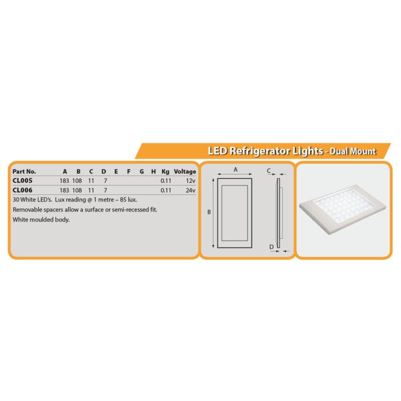 LED Refrigerator Lights - Dual Mount Drg