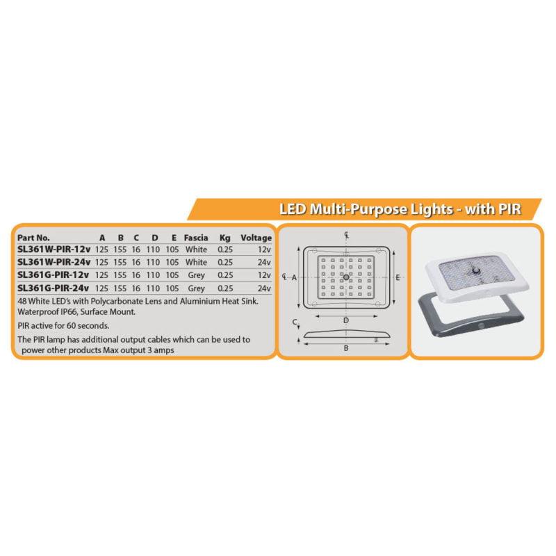 LED Multi-Purpose Lights - with PIR Drg
