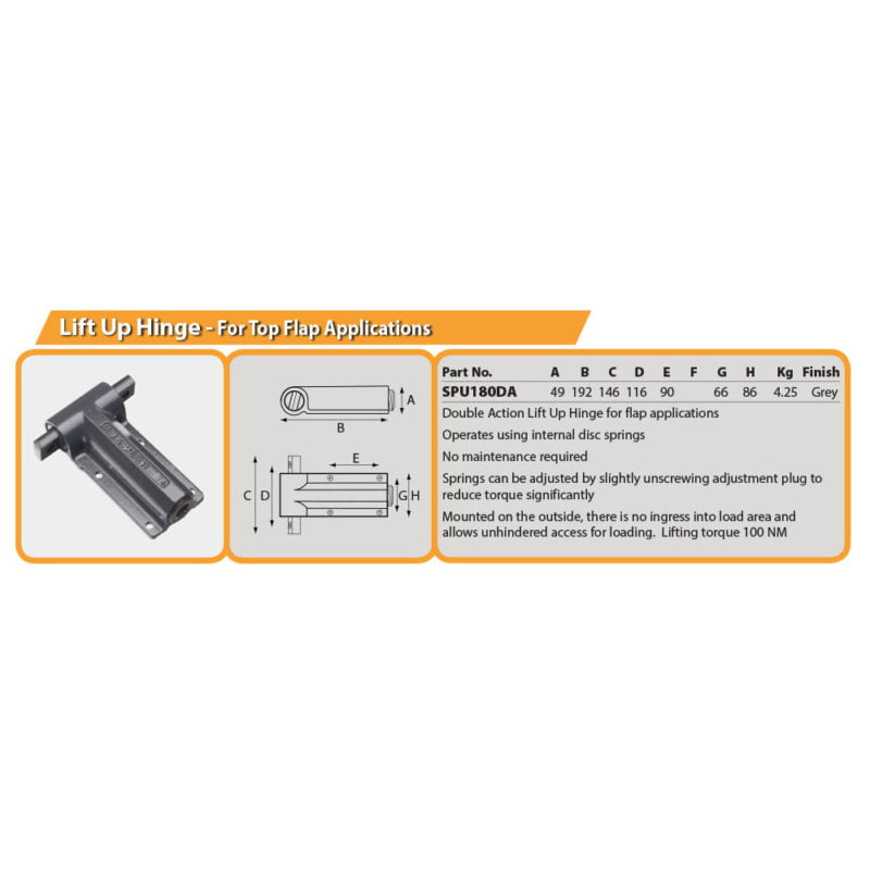 Lift Up Hinge - For Top Flap Applications Drg